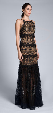 Long black lace maxi dress