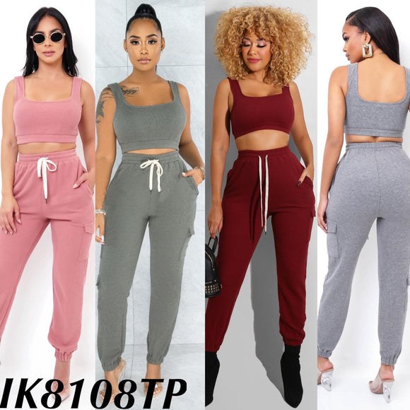 Casual Cropped Tank Set