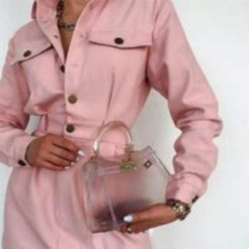 Pink Single-breasted Lapel Dress