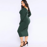 Solid Color Rib-knit Midi Dress