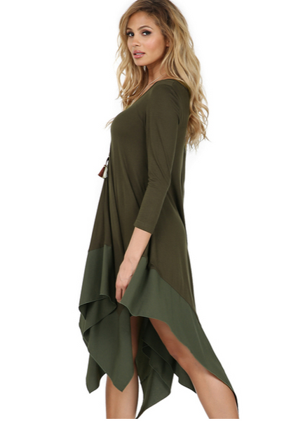 Long Sleeve Basic Rayon Dress