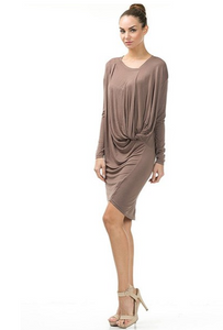 Long Sleeved Draped Dress