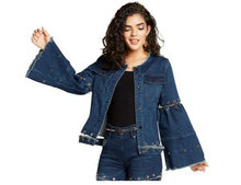 Load image into Gallery viewer, Keyhole Denim Jacket