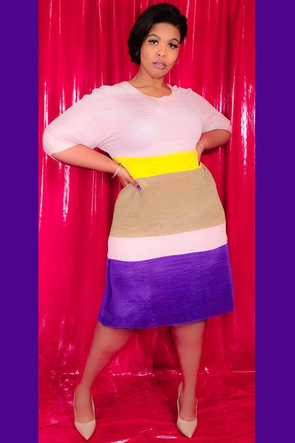 Colorblock Midi Dress