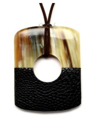 Leather/Water Buffalo Horn Pendant