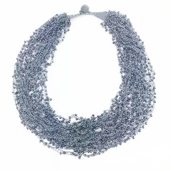 Triple Strand Hand Crocheted Silk Necklace