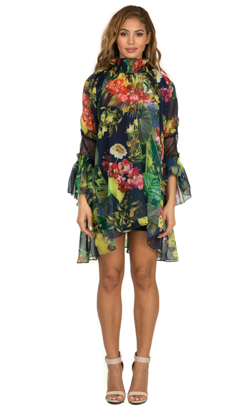 Tropical Blouse Dress