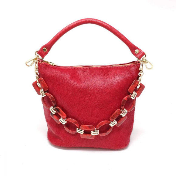 Mid Size Calf Hair Leather Bag