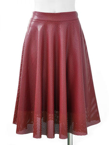 Perforated Faux Leather Skirt