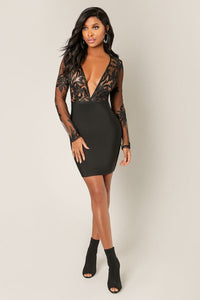 Plunging Neck Bandage Dress