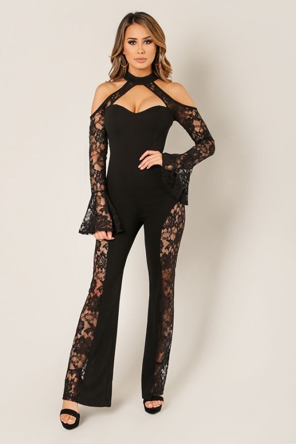 Halter Neck Lace Jumpsuit