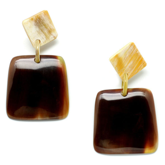 Square Water Buffalo Horn Earring