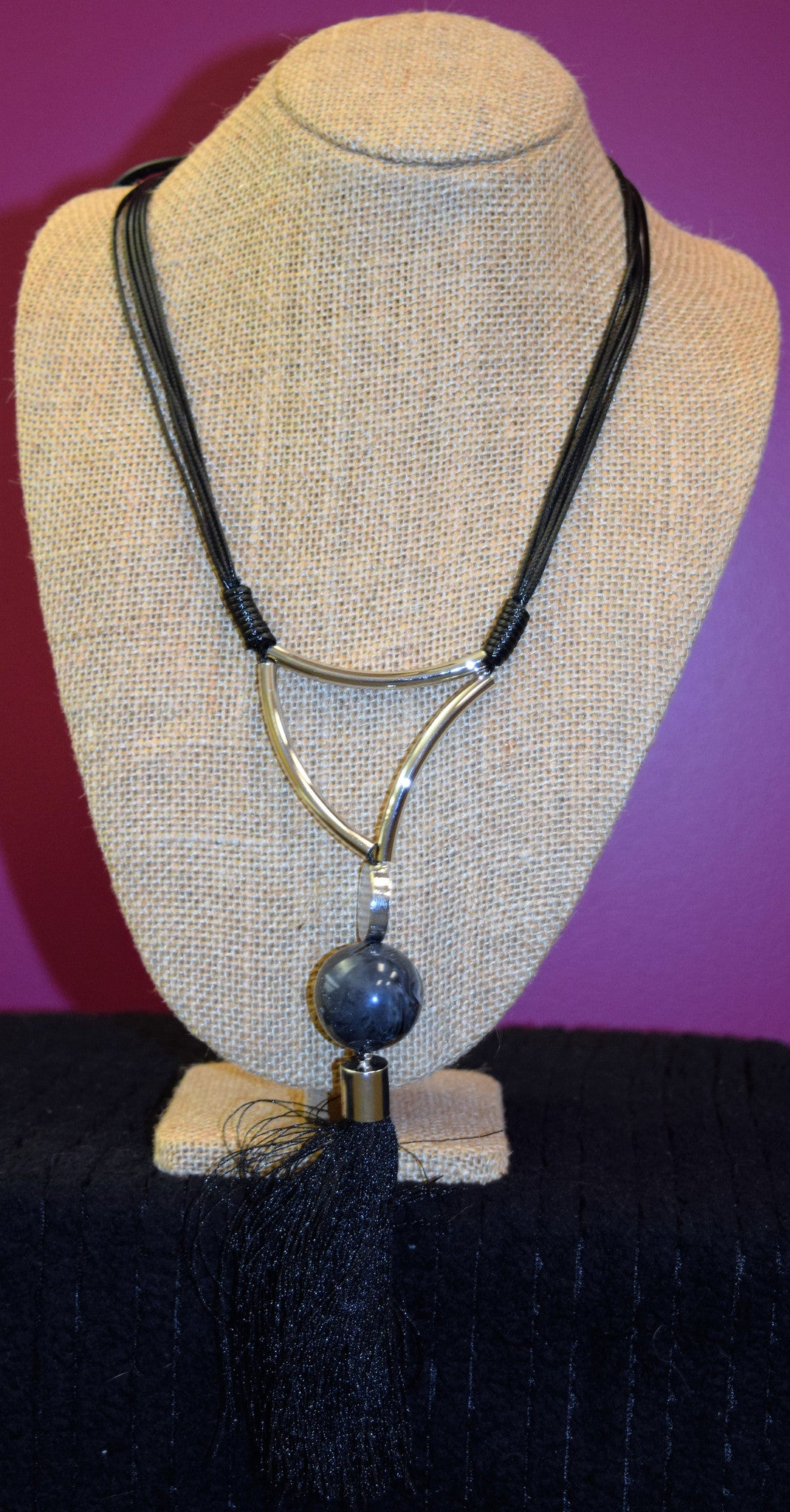Black ball with Tassel Necklace