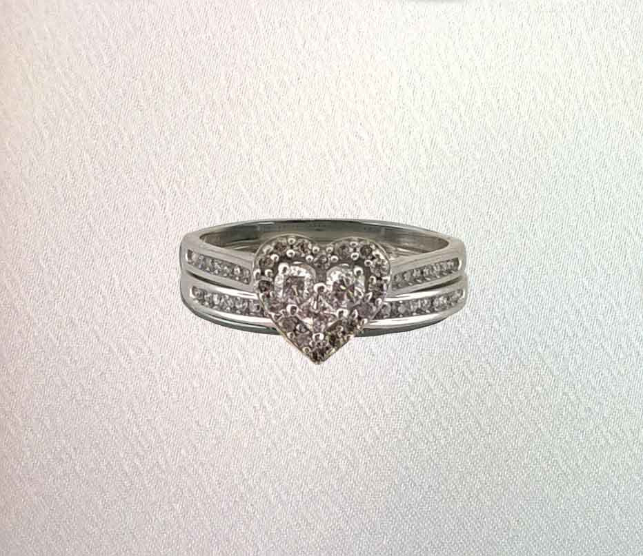 diamond heart wedding ring set - Heart Wedding Ring Set