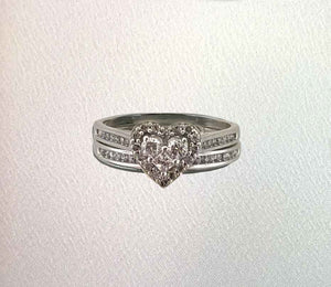 Diamond Heart Wedding Ring Set