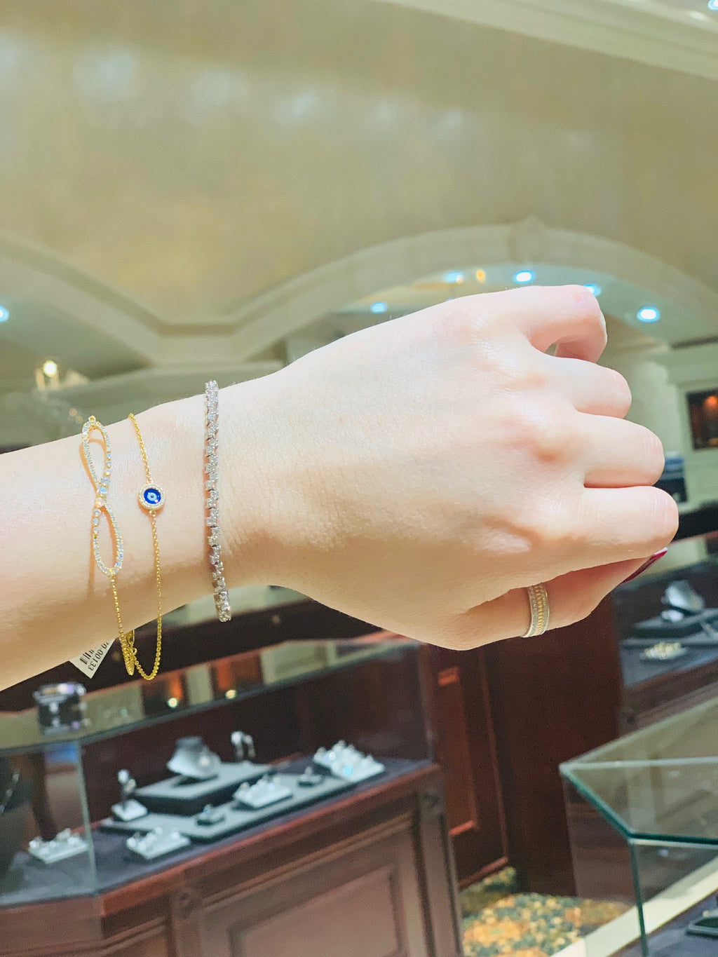 14k Evil Eye Diamond Bracelet