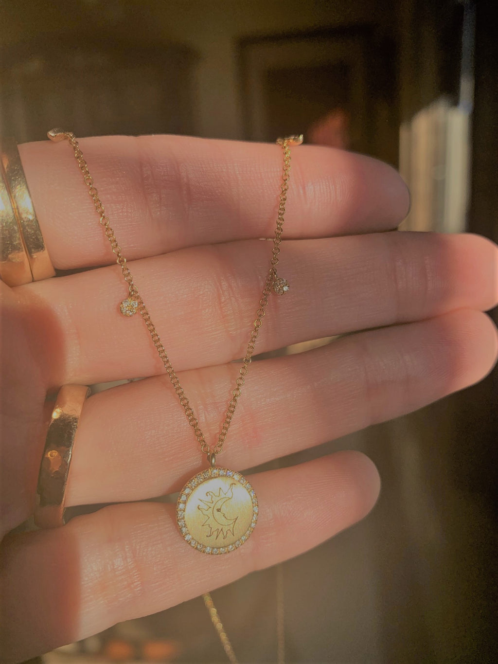 When The Sun Meets the Moon Diamond Pave Pendant