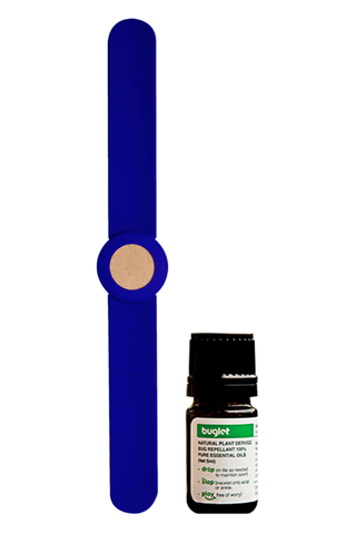 BUGLET  BLUE Berry (kit incl. one bottle of essential oil) - All Natural Essential Oil Diffusing Slap Bracelet