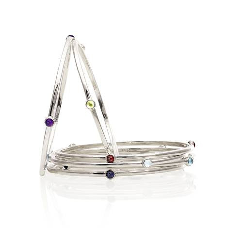Silver Birthstone Bangle by Argent London - Art Jewellery Store: Song of Jewellery