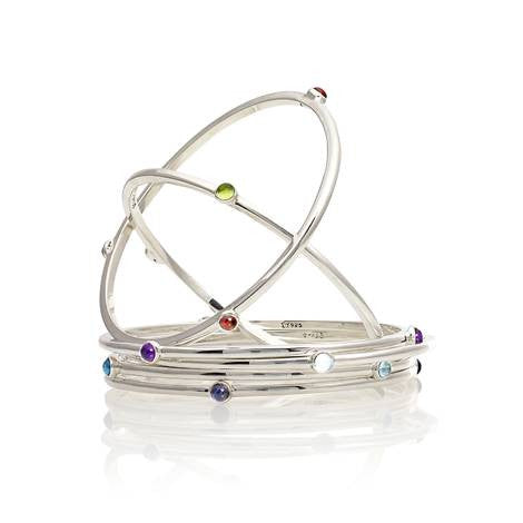 Silver Birthstone Bangle