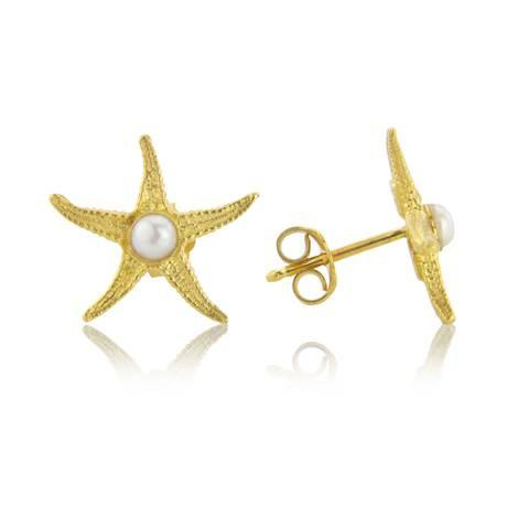Gold Starfish Earrings by Argent London - Art Jewellery Store: Song of Jewellery