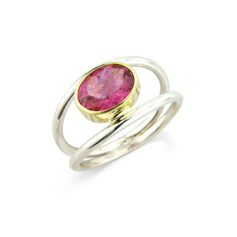 Double Pink Tourmaline Ring