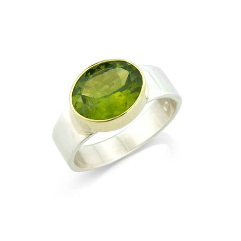 Peridot Silver and Gold Ring - Argent London | Song of Jewelllery