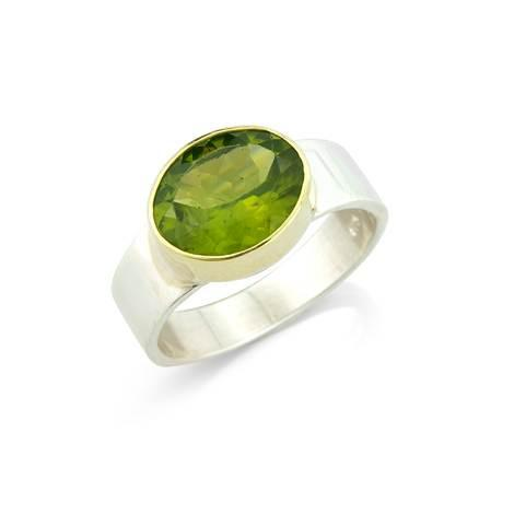 Peridot Silver and Gold Ring by Argent London - Art Jewellery Store: Song of Jewellery