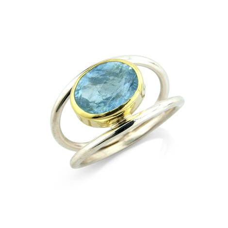 Double Aquamarine Ring by Argent London - Art Jewellery Store: Song of Jewellery