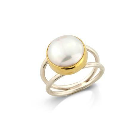 Double Pearl Ring by Argent London - Art Jewellery Store: Song of Jewellery