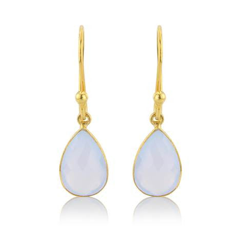 Pale Blue Chalcedony Drop Earrings