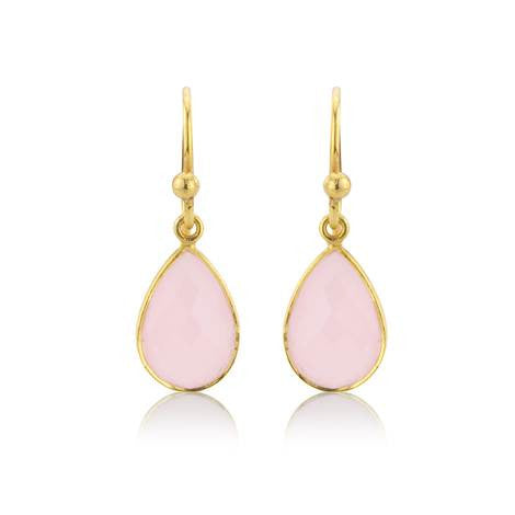 Pink Chalcedony Drop Earrings - Argent London | Song of Jewellery