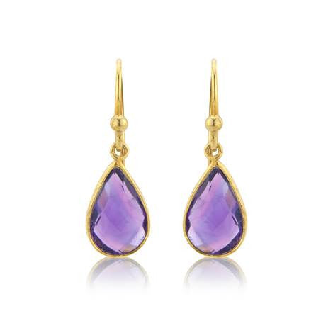 Amethyst Gemstone Drop Earrings - Argent London | Song of Jewellery