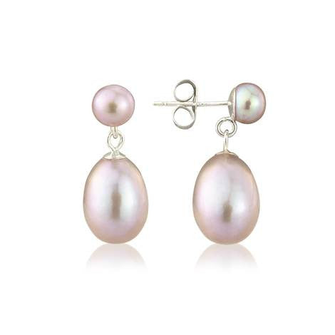 Pink Pearl on Pearl Earrings