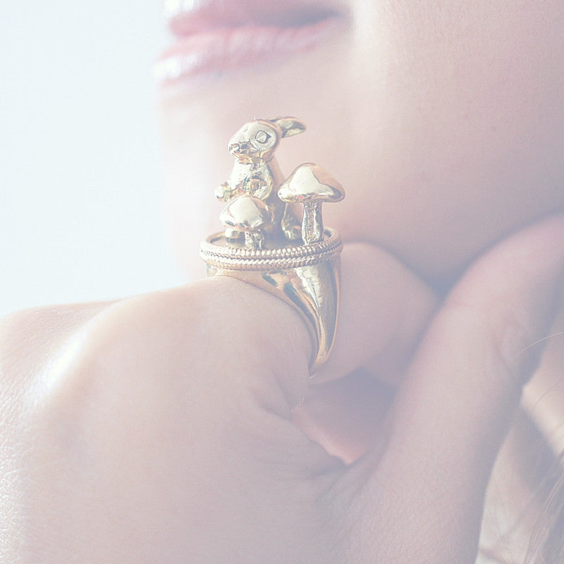 Golden Wild Rabbit Ring by Monvatoo - Art Jewellery Store: Song of Jewellery