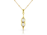 Gold plated and sterling silver pearl peapod pendant is part of Argent of London's nature collection made in Great Britain.