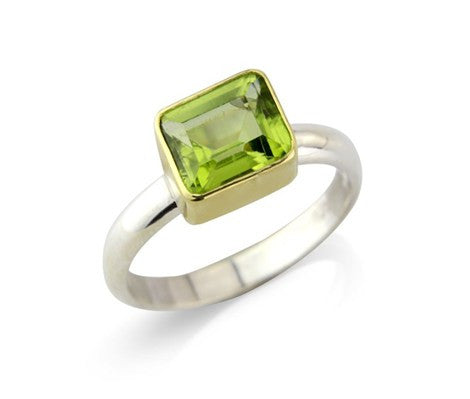 Rectangular Peridot Ring by Argent London - Art Jewellery Store: Song of Jewellery
