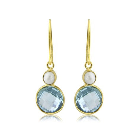 Blue Topaz and Pearl Earrings by Argent London - Art Jewellery Store: Song of Jewellery