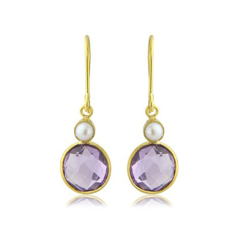 Amethyst and Pearl Gemstone Earrings - Argent London | Song of Jewellery