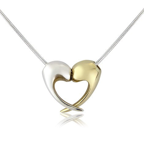 Silver and gold romantic heart necklace. London. UK. Song of jewellery