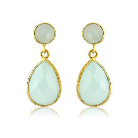 Aqua Chalcedony Gemstone Earrings - Argent London | Song of Jewellery