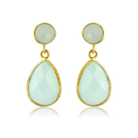 Aqua Chalcedony Earrings by Argent London - Art Jewellery Store: Song of Jewellery