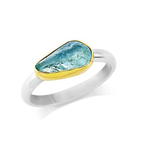 Rough Cut Aquamarine Ring by Argent London - Art Jewellery Store: Song of Jewellery