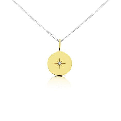 North Star Gold Disc Pendant Necklace