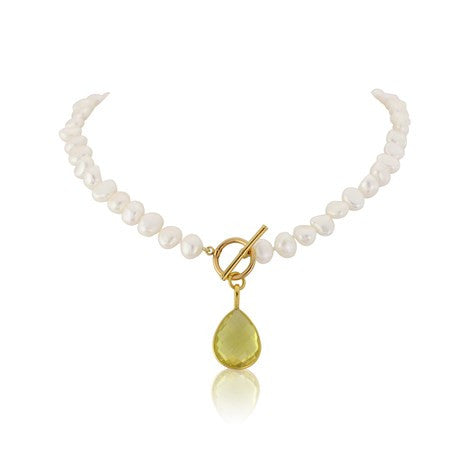 Lemon Topaz Gemstone Pearl Necklace