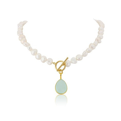 Aqua Chalcedony Gemstone Pearl Necklace