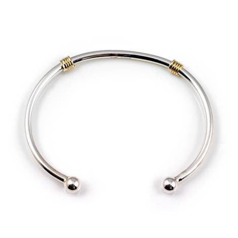 Silver and Gold Torq Bangle - Argent London | Song of Jewellery