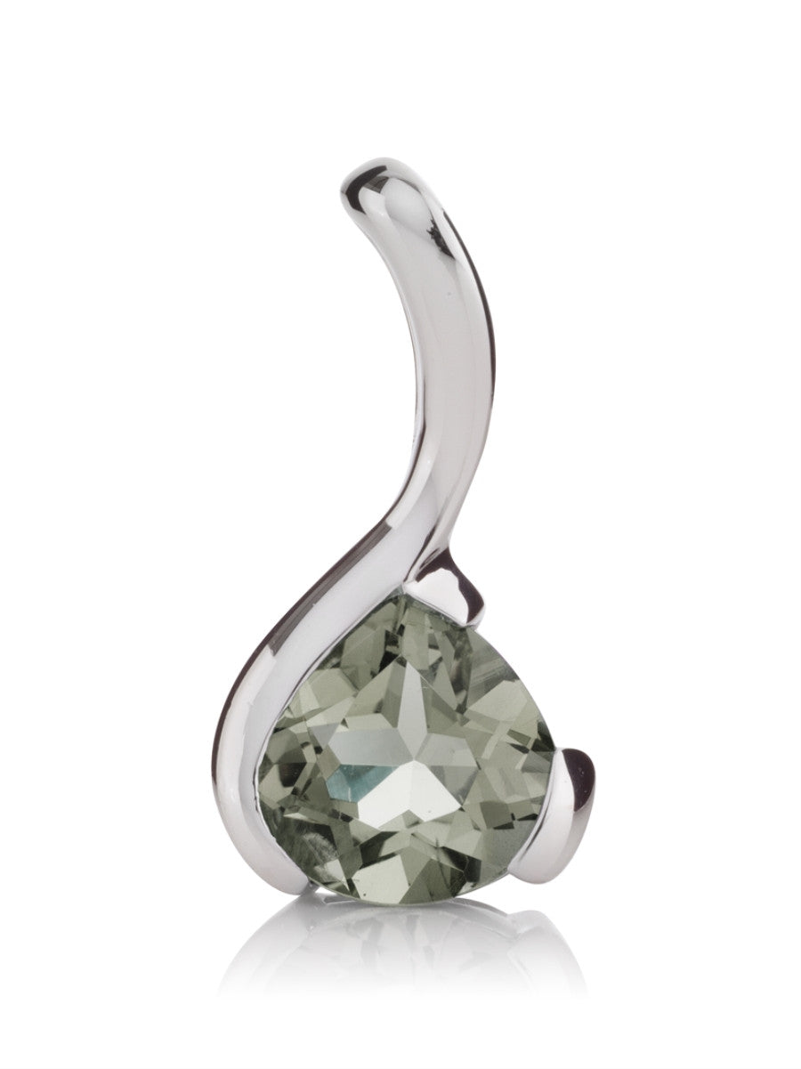 Green amethyst sterling silver pendant. British jewellers
