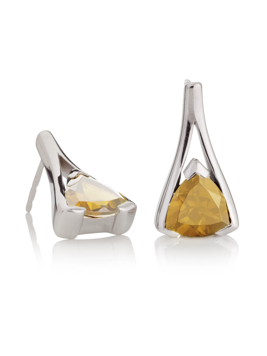 Citrine Silver earrings. British designers.
