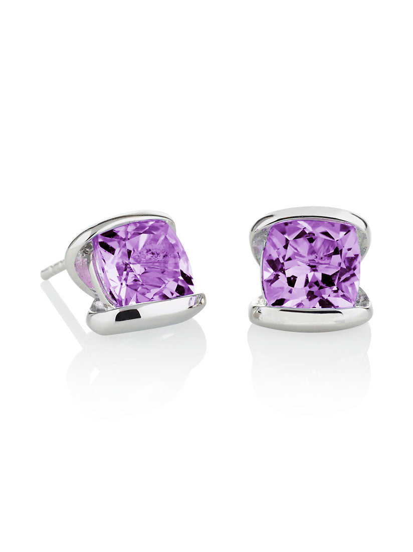 Infinity Sterling Silver Amethyst Earrings by Manja - Art Jewellery Store: Song of Jewellery